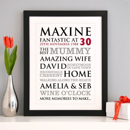 Personalised 30th Birthday Typographic Art Print